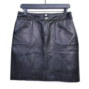 Lauren Ralph Lauren Lined 100% Leather Skirt   EUC
